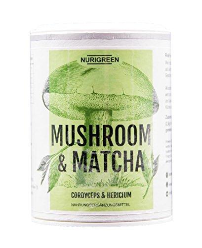 100% Matcha Tee Pulver | NURIGREEN MUSHROOM & MATCHA | Ohne künstliche Zusatzstoffe | Superfoods | u.a. mit Cordyceps & Hericium | Glutenfrei | Vegan| Perfekt für Paleo & Ketogene Ernährung – 40g