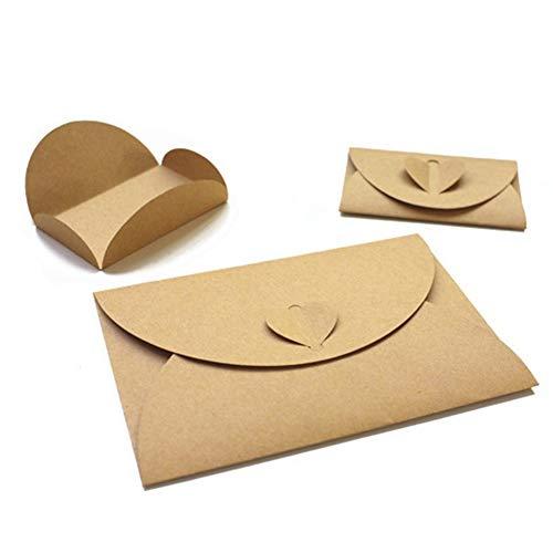 50 Stück Papier Umschläge mit Herz Verschluss Geschenk Karte Umschläge handgefertigt Samen Umschläge Bulk Post Karte Foto Halter für Weihnachten Valentinstag Hochzeit Hotel Namen Karten Thank You (Bulk-foto-papier)