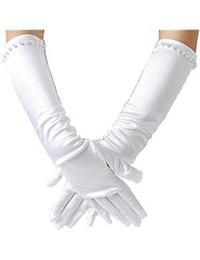 Ever FAIRY Mädchen klassisch weiß Hochzeitskleid Perlstickerei Handschuhe