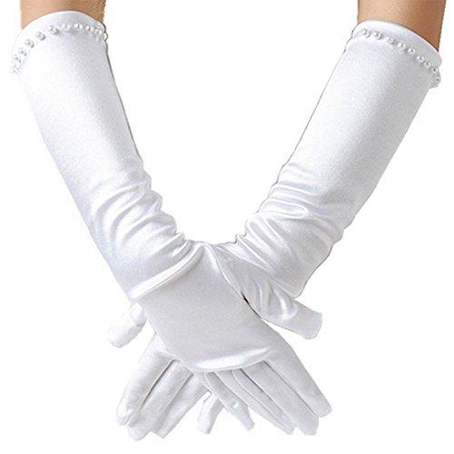 Handschuhe Ellenbogen Kinder (Ever FAIRY Mädchen klassisch weiß Hochzeitskleid Perlstickerei Handschuhe - Weiß, L)