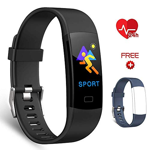 EFO SHM Fitness Armband Fitness Trackers Aktivitätstracker mit Pulsmesser, Fitness Uhr Armbanduhr Schrittzähler Call SMS Whatsapp Note for iPhone Android Mobile Phone. (Black+Blue Strap)