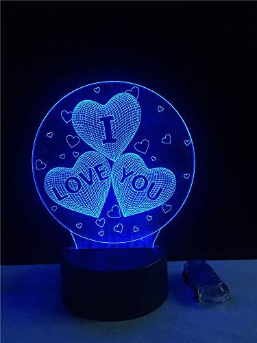 GUANGYING Luz nocturna Te Amo Dulce Amante Corazón Globo 3D Llevó La Lámpara Usb Romántica Decorativa Colorida Noche Luz Regalo De La Novia