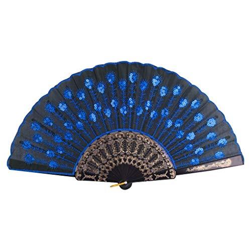 Tanzkostüm Bunte - Demino Bunte gestickte Blumen-Muster-Schwarz-Tuch Folding Leichte Fan für Tanzaufführung Saphir 23 * 43cm