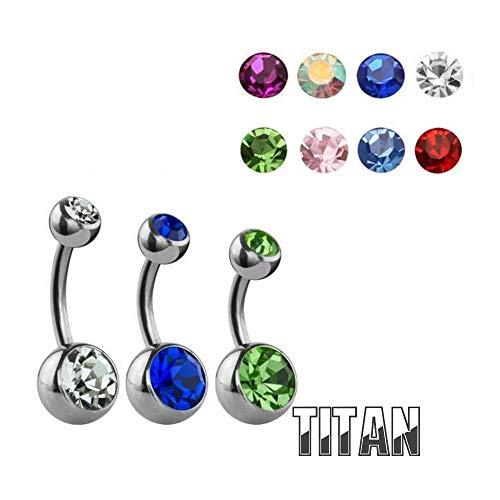 Treuheld® Titan Bauchnabelpiercing mit Kristallen - 8 Kristall-Farben und 2 Größen: 1,6 x 8mm oder 1,6 x 10mm - Ball Closure Ring - Piercing in Silber aus Chirurgenstahl (Edelstahl) (Anzahl Bauch-ringe)