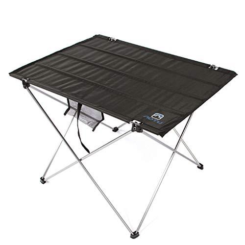 NJ Table Pliante- Table Se Pliante en Aluminium extérieure d'Oxford, Table portative de Barbecue de Table de Camping (Couleur : Noir, Taille : 74x54x52cm)