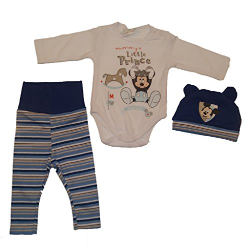 Jungen Baby-Set 3-teilig Mickey Mouse in GRÖSSE 56, 62, 68, 74, 80 grau oder blau, Baby-Schlafanzug mit Druck-Knöpfen, Spiel-Anzug mit Baby-Body, langer Hose und Mützchen Color Blau, Size 62
