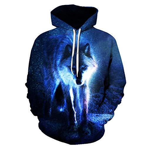 comechen Herren Kapuzenpullover Lebensecht 3D Grafik Hoodie mit Kängurutasche Pullover mit Kapuze Sweat HoodPullover Lone Wolf Mit Kapuze Lässig Y-5096 XL