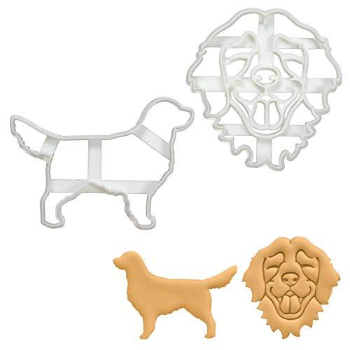 Bakerlogy 2er Set Golden Retriever Ausstechformen (Formen: Gesicht & Silhouette), 2 Teile -