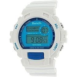 Bench unisex digitaler LCD Chronograph & weißes Silikonband BC0416