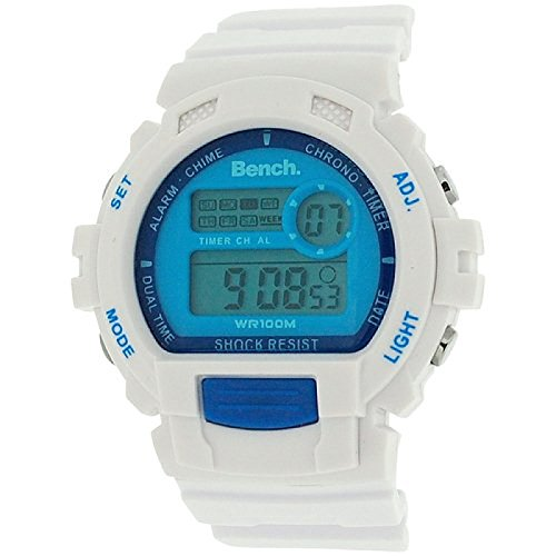 Bench unisex digitaler LCD Chronograph & weißes Silikonband BC0416