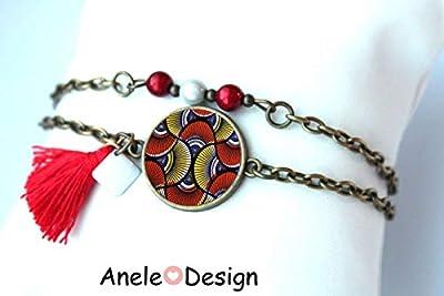 Bracelet double tours bronze, wax rouge pagne Afrique rouges sequin, tendance cadeau