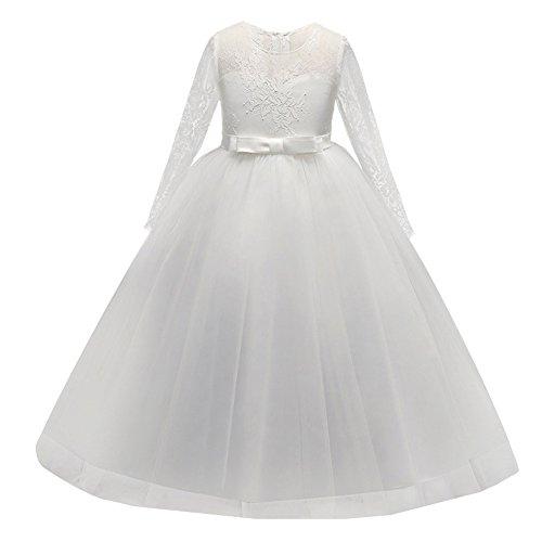i Spitzen Kleid Fest Kinder Blumenkleid Lange Ärmel Hochzeit Brautjungfer Kommunion Party Kostüm Abendkleid Ballkleid Für Mädchen 3-14 Jahre (Mädchen Mit Langem Kleid)