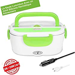 CGGK TECH Lunch Box Chauffante Electrique Gamelle Chauffante Hermétique Boîte Repas 12V 220V Qualité Alimentaire pour Repas Chaud en Acier INOX