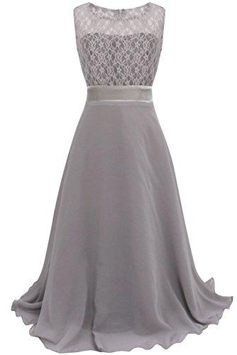 YiZYiF Festliches Mädchenkleid Lange Brautjungfern Kleider Hochzeit Chiffon Gr. 104 116 128 134 140 146 152 164 Grau 164