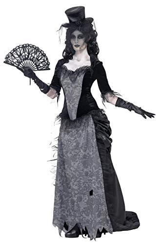 Smiffys Damen Geister Schwarze Witwe Kostüm, Oberteil, Rock und Hut, Größe: S, (Schwarze Witwe Kostüm Sexy)