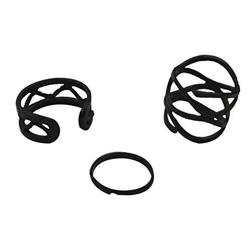 T de Meka Anillo Set Joyas Vintage Negro o Plata Juego de 3Exterior Articulación Anillo Gótico encadenadas