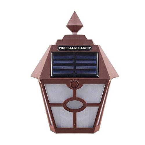 Retro LED Solar Panel Hexagon Wandleuchten 5 Watt Outdoor Gartenzaun Treppenlampe wasserdichte Landschaft Girlande Außenbeleuchtung Lichter 1 stücke Solarpanel Lichter (Farbe : Brown) -