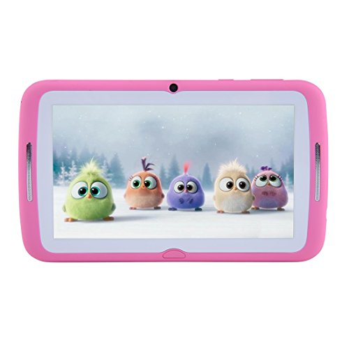 Tablet per bambini 7 pollici, Android 7.1 OS, iWawa Pre-Installed, Quad Core, HD Touch Screen, 1 GB RAM, 8 GB di memoria, Wifi, Bluetooth, doppia fotocamera con custodia in silicone per bambini(rosa)