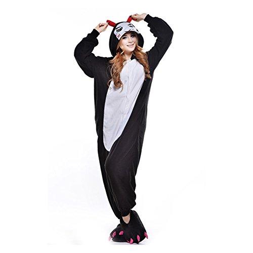 LSHEL Erwachsenen Tier Pyjama Jumpsuit Cosplay Unisex Cartoon Karneval Halloween Kostüm Fleece Overall Pyjamas, Teufel, M (empfohlene Höhe 156-164 cm)