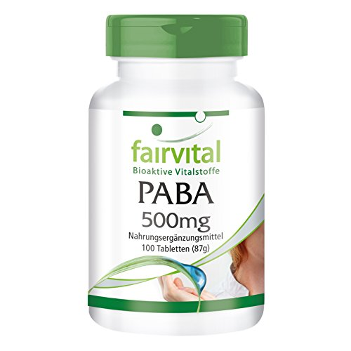 PABA - 100 comprimidos de vitamina B10 - Ácido- Para-Aminobenzoico- 500mg - ¡Calidad Alemana garantizada!