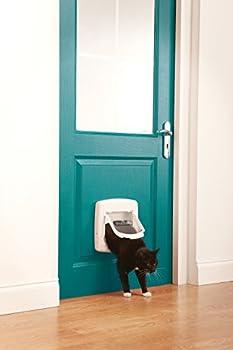 PetSafe - Chatière De Luxe Staywell pour Chat avec Système de Verrouillage à 4 positions - Extension de Tunnel incluse - Blanc