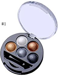 5 Colors Glitter Eyeshadow Powder Palette Makeup Metallic Eye Shadow Cosmetics with Double-ended Brush