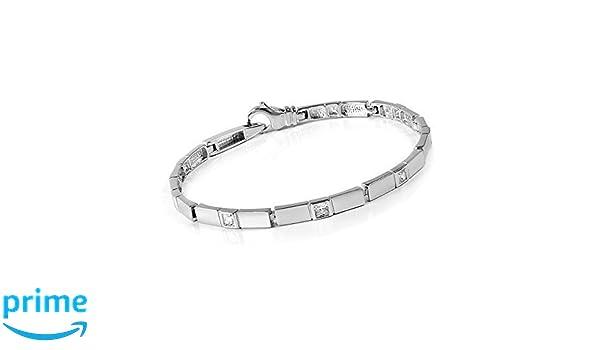 MATERIA 925 Silber Armband 18cm mit 4 Zirkonia Juwelieranfertigung inkl Holzbox