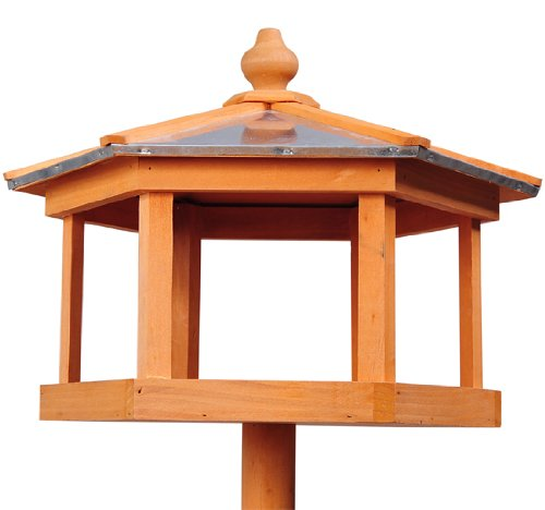 PawHut Deluxe Bird Stand Feeder Table Feeding Station Wooden Garden Wood Coop Parrot Stand 113cm High New 4