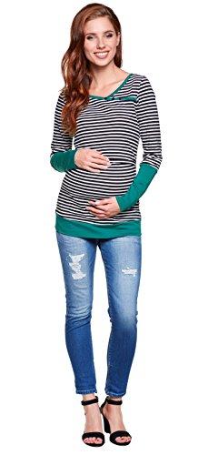 Be! Mama Stillshirt, Umstandsshirt, Schwangerschaftsshirt, Modell: Monic - hochwertige Baumwolle Langarm/Streifen-grün