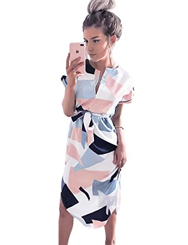 Gorgeya Womens Dresses Summer Casual V-Neck Short Sleeve Geometric Pattern Belted Midi Dress