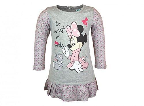 BABY-KLEID / Mädchen Kleid LANG-ARM von Disney Minnie Mouse aus 100% Baumwolle in GRÖSSE 74, 80, 86, 92, 98, 104, super süßes Tunika-Kleid, toll mit Leggings zu kombinieren Size (Mickey Und Muster Mouse Kostüm Minnie)
