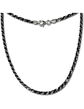 SilberDream Halskette aus 925er Sterling Silber - Collier bicolor gedreht schwarz für Damen - Länge 45cm - SDK21645S