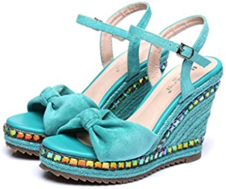 24284cb4219 Fashion Ladies Shoes Wedges Wedges Wedges Sandals Thick Sandals Black Woven  Shoes (Color   Blue
