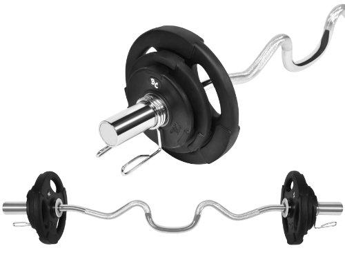Oly. Gummi-Gripper Hantel-Set 26,5Kg (1 x Oly. Super SZ-Hantelstange 121cm, 2x1,25, 2x2,5 und 2x5Kg Hantelscheiben) Gewichte Hanteln