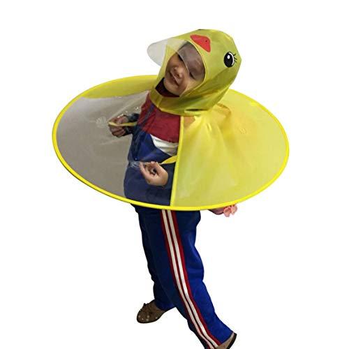 Delicacydex Kreative Cartoon Ente Regen Hut Faltbare Kinder Regenmantel Regenschirm Cape Cute Regen Mantel Umhang Universal für Jungen Mädchen - Gelb
