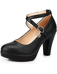 Kalends negro piel de la mujer Plus tamaño hebilla de zapatos de tacón alto zapatos de trabajo bombas