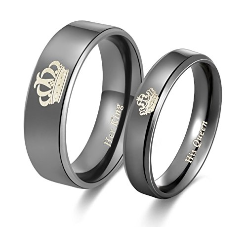 Peora Her King His Queen Titanium Stainless Steel Wedding Band Set Anniversary Engagement Promise Ring  available at amazon for Rs.399