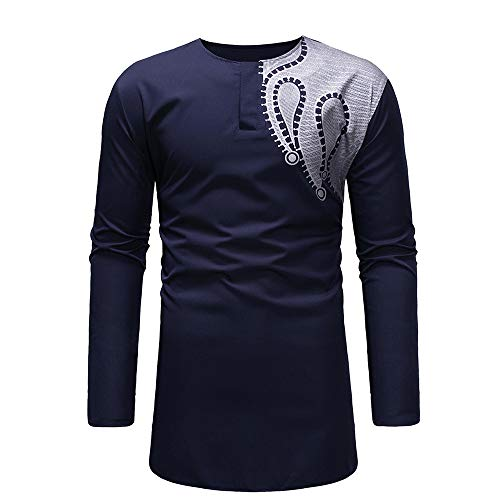 Xmiral Men\'s Top Sweatshirt Eine Schulter African Print Long Sleeve Taste Shirt Blouse Luxus Kleidung(S,Marine Blau)