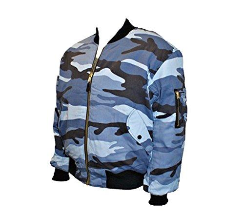 Camouflage bomber mA1 veste aviateur grave laiton fermeture éclair Bleu - Mitternacht