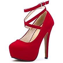 7f2de763d OCHENTA Zapatos con Tacon Alto para Mujer Plataforma