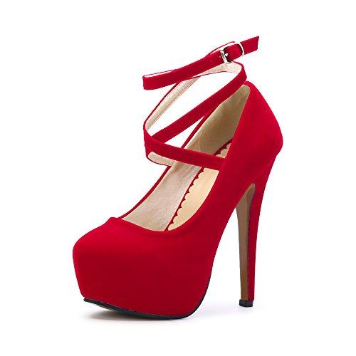 OCHENTA Zapatos con Tacon Alto para Mujer Plataforma #01 Rojo 37