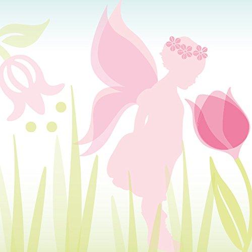 anna wand Bordüre selbstklebend LOVELY FAIRIES - Wandbordüre Kinderzimmer / Babyzimmer mit Feen & Elfen in Rosa-Grün - Wandtattoo Schlafzimmer...