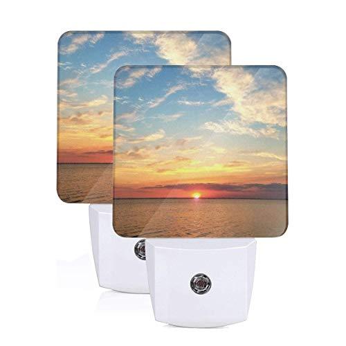 Sunrise Blue Skies Clouds Sun Water River Ocean Sky Auto Sensor LED Dusk to Dawn Night Light Set Of 2 White -