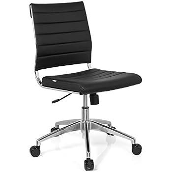 Bürostuhl ohne Armlehnen Leder schwarz