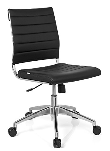 hjh OFFICE 720002 Profi Bürostuhl TRISHA Kunstleder Schwarz moderner Drehstuhl ohne Armlehnen, gesteppte Polsterung -