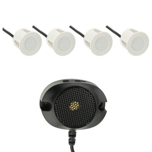 VSG R4S Einparkhilfe mit einem akustischen Signalgeber und inklusive 4 Sensoren in weiß für hinten