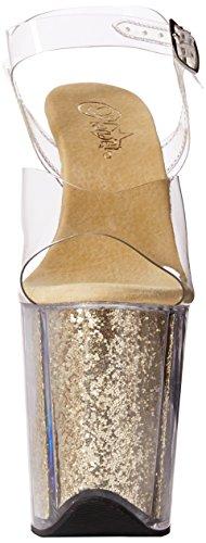 Pleaser Damen Flamingo-808g Offene Sandalen Transparent (Clr/Gold Glitter)