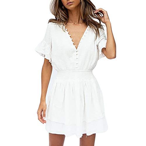 Deep V-neck Knit Top (HHyyq Fashion Women Solid Casual Short Sleeve Ruffles Deep V-Neck Button A-Line Dress Kragen Puffärmel geknöpftes Kleid(Weiß,XL))