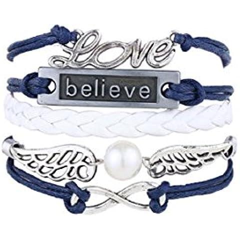 Más Querida hecho a mano diseño de búhos alas Multilayer Knit cuerda de cuero pulsera de cadena