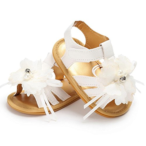 Clode® Sommer Mädchen Krippe Schuhe Neugeborene Blume Anti-Rutsch Baby Sneakers Sandalen Weiß